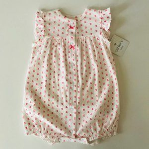 Baby Girl Cherry Print Snap Up Romper Summer